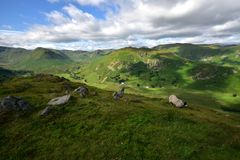 Martindale Common. Sheep feeding on Steel Knotts Stock Photography