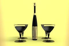 Martini γυαλιά και μπουκάλι με τη χρυσή ετικέτα Στοκ Φωτογραφία