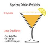Martini πτώσης λεμονιών οινοπνευματώδης συνταγή απεικόνισης κοκτέιλ διανυσματική που απομονώνεται ελεύθερη απεικόνιση δικαιώματος