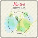martini Συρμένη χέρι διανυσματική απεικόνιση του κοκτέιλ ζωηρόχρωμο watercolor ανασκόπησης Στοκ Εικόνες