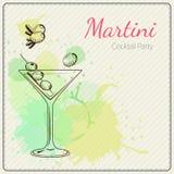 martini Συρμένη χέρι διανυσματική απεικόνιση του κοκτέιλ ζωηρόχρωμο watercolor ανασκόπησης Στοκ Φωτογραφίες