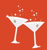 Martini. Illustration of two glasses of martini with olives royalty free illustration