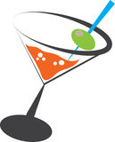 Martini. Alcoholic martini beverage with olive vector illustration