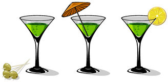 Martini. Green cocktail in a glass for martini on white background, illustration vector illustration