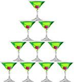 Martini. A triangle shape made by 10 glasses of martini, for celebration, vector, illustration Stock Images