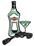 Martini. Bottle of Martini with James Bond pistol royalty free illustration