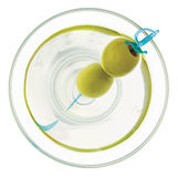 Martini From Above. A martini with two olives skewered on a blue plastic sword viewed from directly overhead. Isolated on white and included clipping path Royalty Free Stock Image