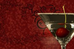 Martini with Abstract Background. An abstract image with a martini and cherry..with copy space Stock Image