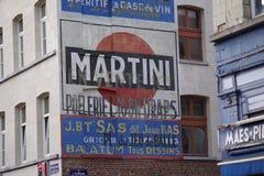 Martini advertizing på byggnadsyttersida Arkivbilder