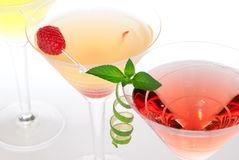 Martini alcohol cocktails in row margarita Royalty Free Stock Image