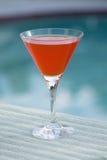 Martini anaranjado en la piscina foto de archivo libre de regalías