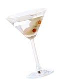 Martini asciutto con le olive del pimento Fotografie Stock Libere da Diritti