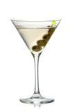Martini avec l'isolement d'olives sur le fond blanc Photos libres de droits