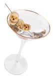 Martini avec l'olive de crâne Photographie stock libre de droits