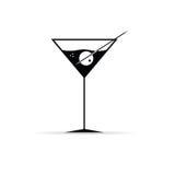 Martini avec le vecteur olive Photographie stock