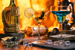 Martini and blue cocktail Stock Images