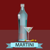 Martini Bottle Glass Olive Alcohol Drink Icon Flat. Vector Illustration Stock Photos
