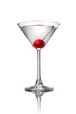 Martini with cherry isolated on white Royalty Free Stock Photo