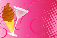 Martini and chocolate ice-cream halftone banner Royalty Free Stock Image