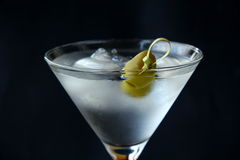 Martini cocktail. Glass with a black background Stock Image