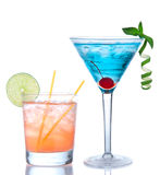 Martini cocktail blue hawaiian and yellow margarita. Tropical Martini cosmopolitan cocktail blue hawaiian and yellow margarita alcohol drink isolated on a white Royalty Free Stock Photos