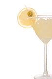 Martini-Cocktail glas mit gelber Zitrone Lizenzfreie Stockfotos