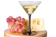 Martini cocktail with grapes and cheese Royalty Free Stock Image
