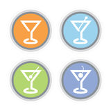 Martini Cocktail Icon. Colorful Martini Glass Icons. Easy-edit file makes changing colors simple Stock Image