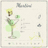 Martini. Cocktail infographic set. Vector illustration. Colorful watercolor background Stock Photo