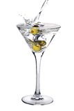 Martini cocktail with olives and splash Royalty Free Stock Image