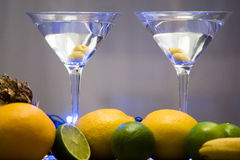 Martini coctail composition with fruits Royalty Free Stock Image