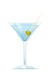 Martini con la aceituna en el pincho de madera Foto de archivo libre de regalías