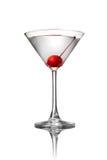 Martini con la ciliegia isolata su bianco Fotografia Stock Libera da Diritti