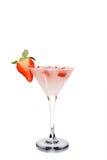 Martini con la fragola ed il ghiaccio Fotografia Stock