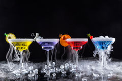 Martini drinks with smoked effect Stock Images