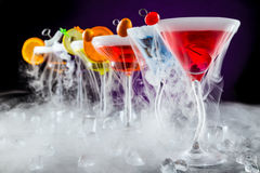 Martini drinks with smoked effect Stock Photo