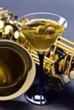 Martini en saxofoon Royalty-vrije Stock Fotografie