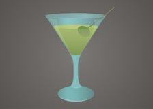 Martini exponeringsglas med den olivgröna illustrationen Royaltyfria Bilder