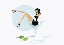 Martini girly vector. Sexy girl in a martini glass Royalty Free Stock Image
