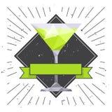 Martini-glaskaart De vlieger van de drankpartij vector illustratie