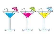 Martini glass. Illustration of three martini glass, isolated on white Royalty Free Stock Photos