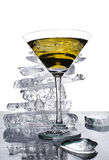 Martini glass against a pile of ice Royalty Free Stock Photo