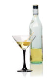 Martini glass and bottle Royalty Free Stock Images