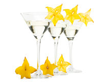 Martini glass and carambola Stock Images