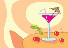 Martini glass and cherry. Illustration of martini glass and cherry on orange background Stock Image