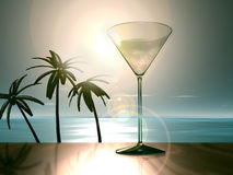 Martini glass - coast with palms Royalty Free Stock Photography
