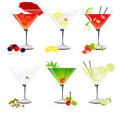 Martini glass collection Royalty Free Stock Photos