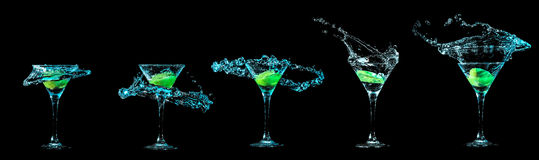 Martini glass collection Royalty Free Stock Image