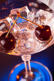 Martini glass with ice and cherries Stock Image