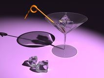 Martini glass with ice cubes Stock Photos